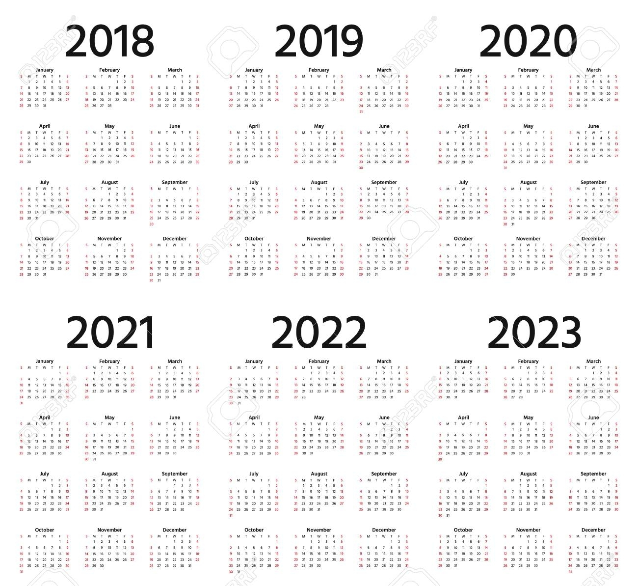 Calendar 2018, 2019, 2020, 2021, 2022, 2023 Year. Week Starts with Print 2019, 2020, 2021, 2022, 2023, Calender