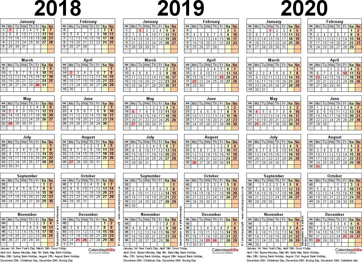 Calendar 2018 2019 2020 Printable In 3 Year Calendar Template - Free pertaining to 3 Year Calendar Printable 2018 2019 2020