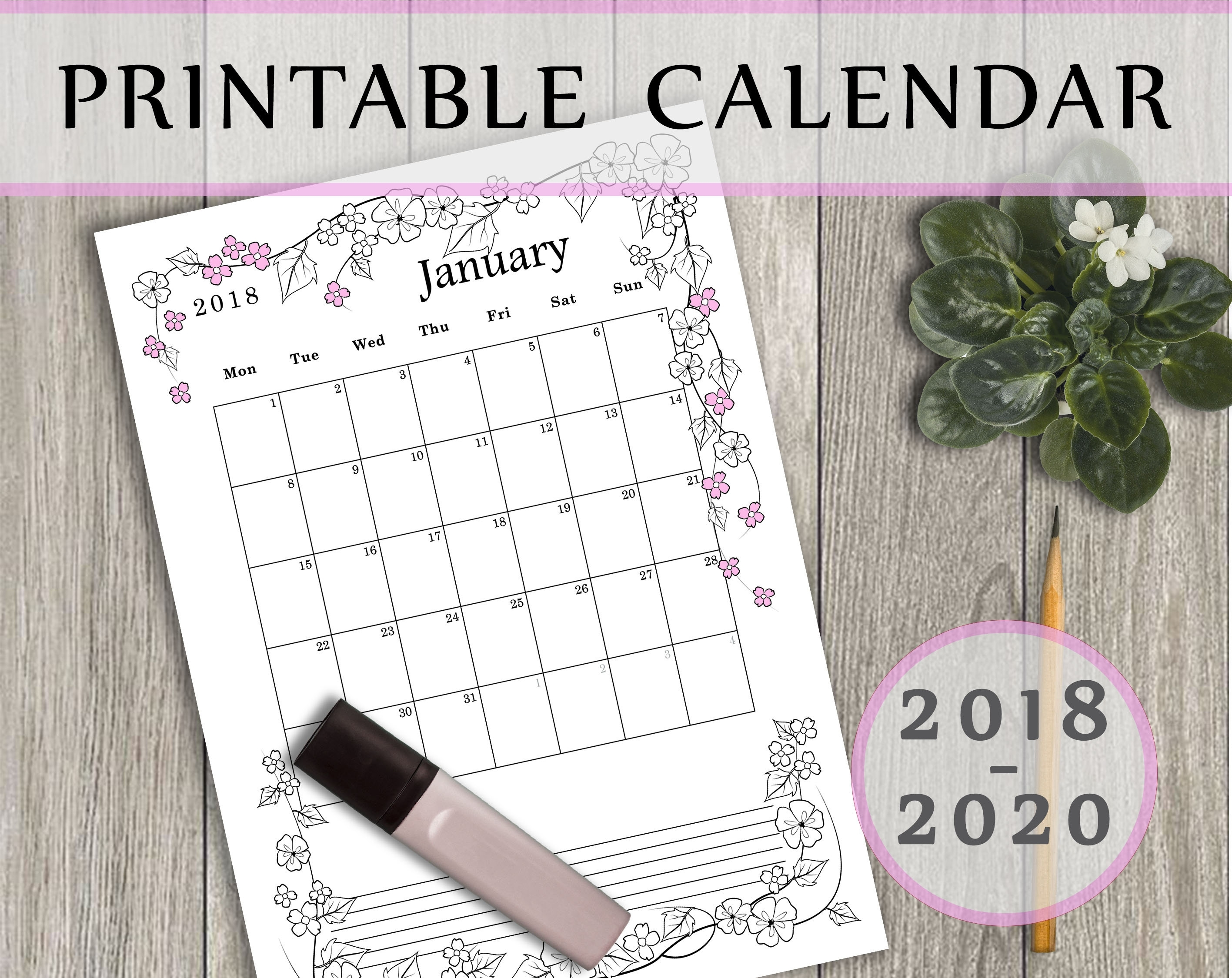 Calendar 2019 2019 2020. Month Per Page. Monthly Planner. | Etsy inside Printable Coloring Calendar 2019-2020