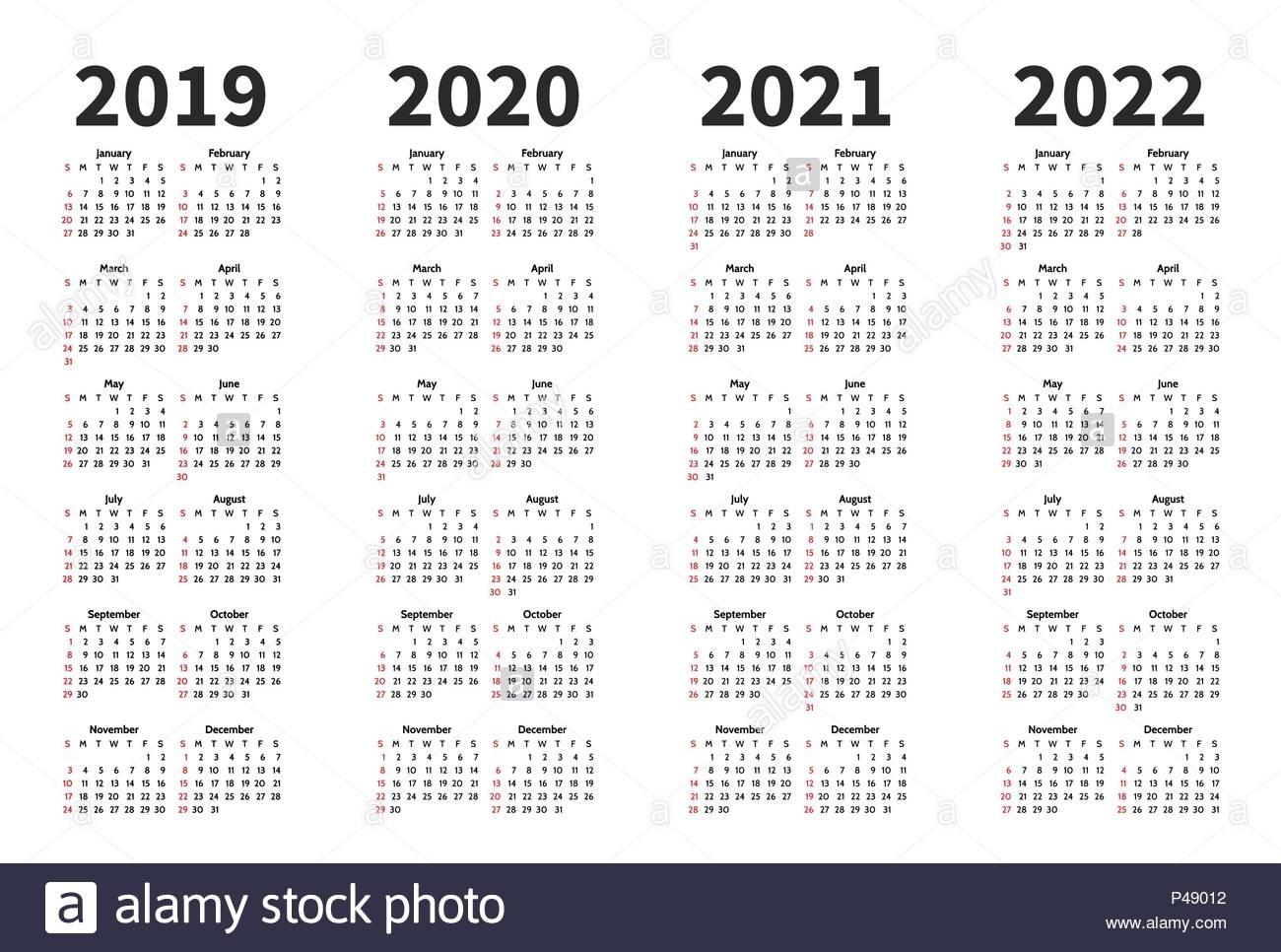 Calendar 2019, 2020, 2021 And 2022 Year Vector Design Template for Week Count Calendar 2019-2020