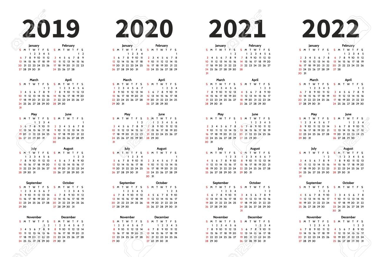Calendar 2019, 2020, 2021 And 2022 Year Vector Design Template throughout Yearly Calendar 2019 2020 2021