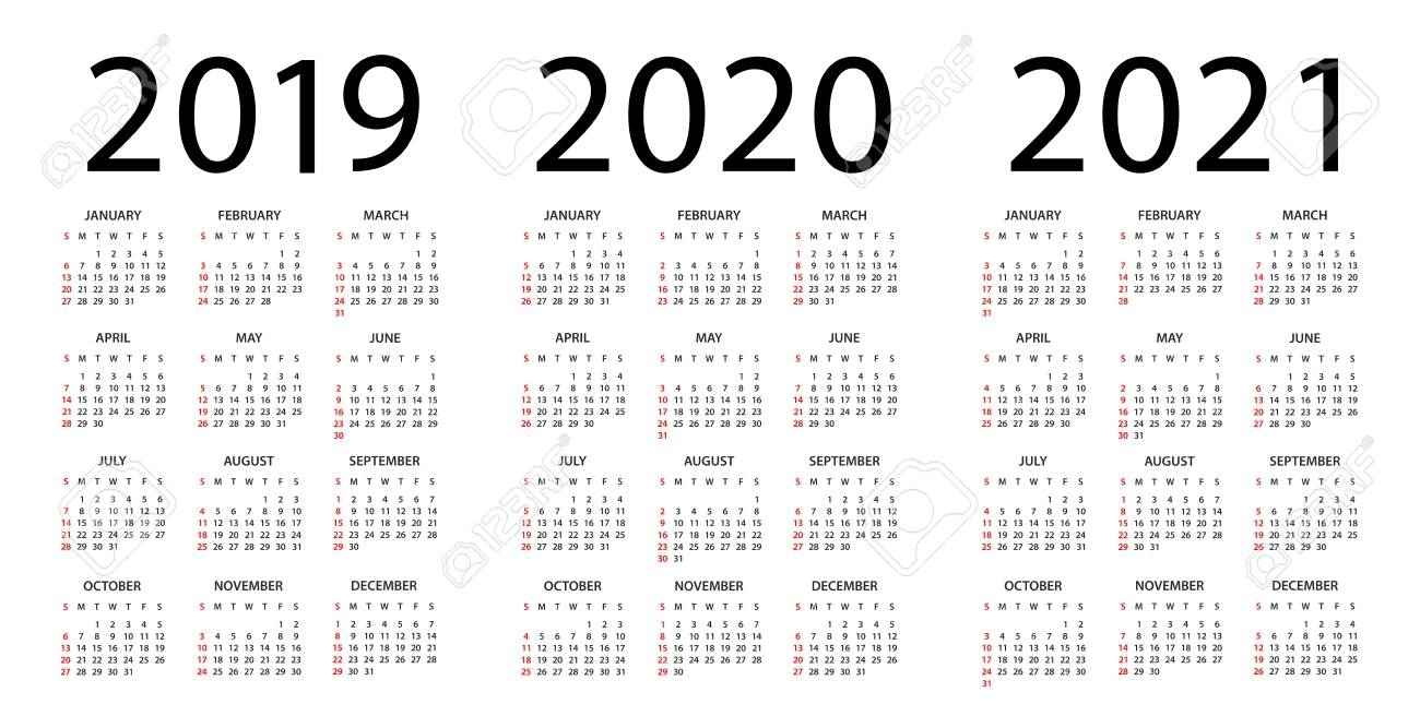 Calendar 2019 2020 2021 Year - Vector Illustration. Week Starts throughout Calendar Yearly 2019 2020 2021