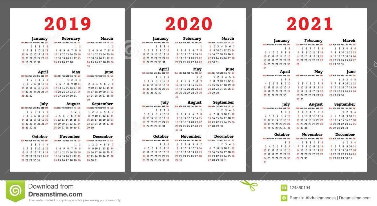 Calendar 2019, 2020, 2021 Years. Colorful Vector Set. Week Start with Free Editable Calander 2019-2020 Start On Sunday