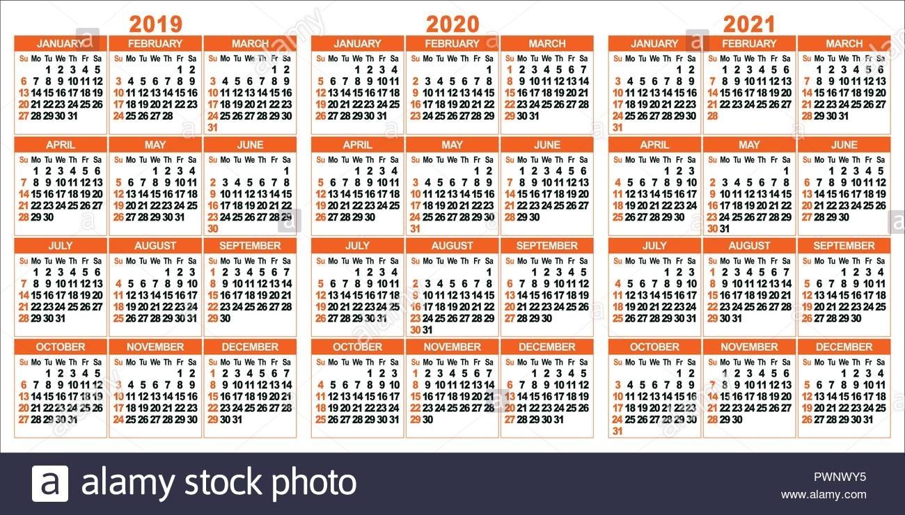 Calendar 2019; 2020; 2021 Years. Two Colors Vector Set. Week Starts inside Week Count Calendar 2019-2020
