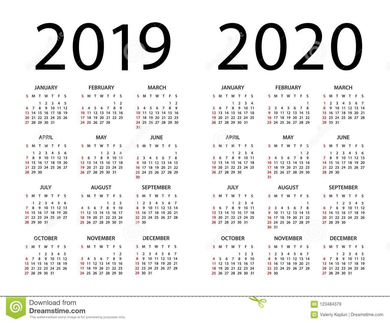 Calendar 2019 2020 - Illustration. Week Starts On Sunday Stock for Monday - Sunday 2020