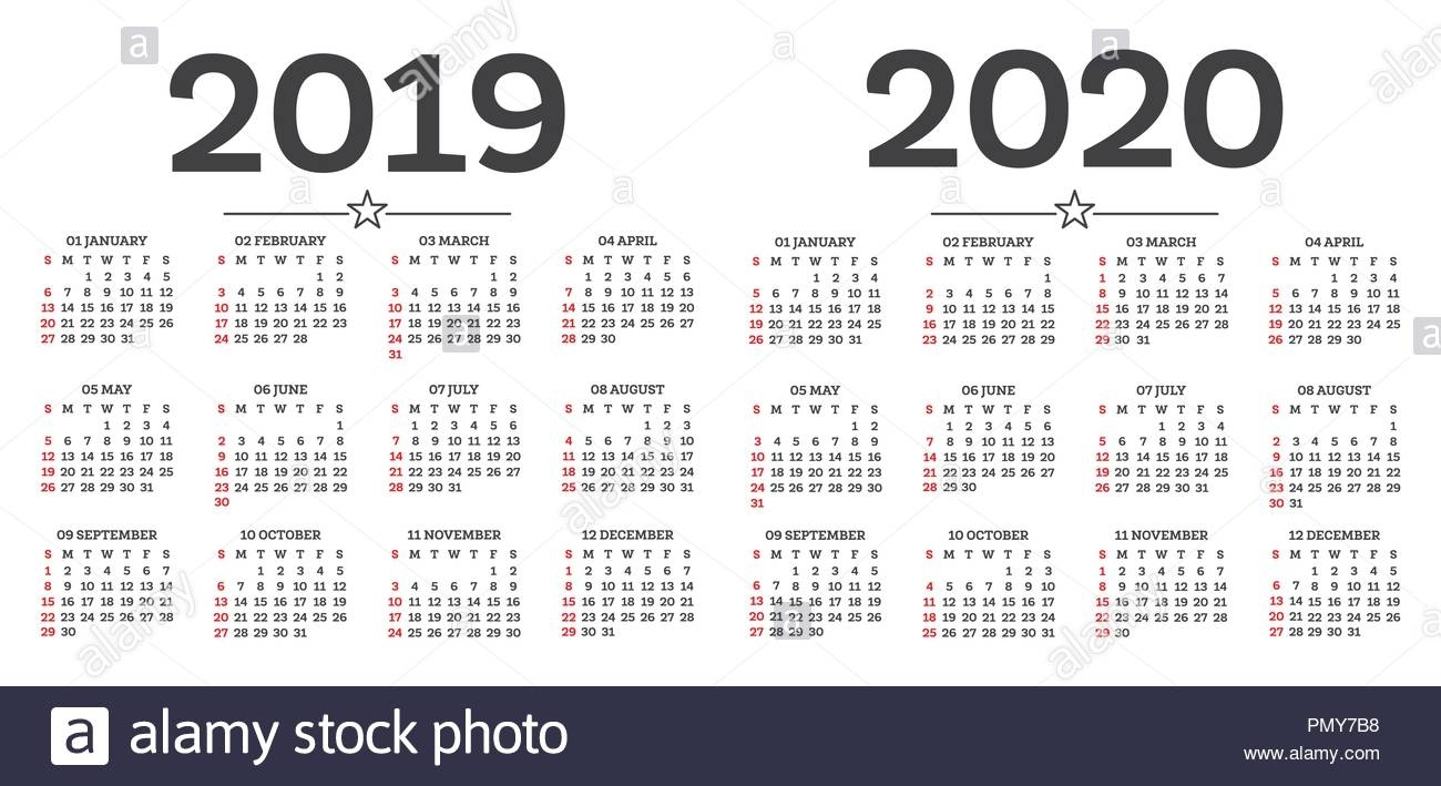 Calendar 2019 2020 Isolated On White Background. Week Starts From pertaining to 2020 8 X 10 Calendars