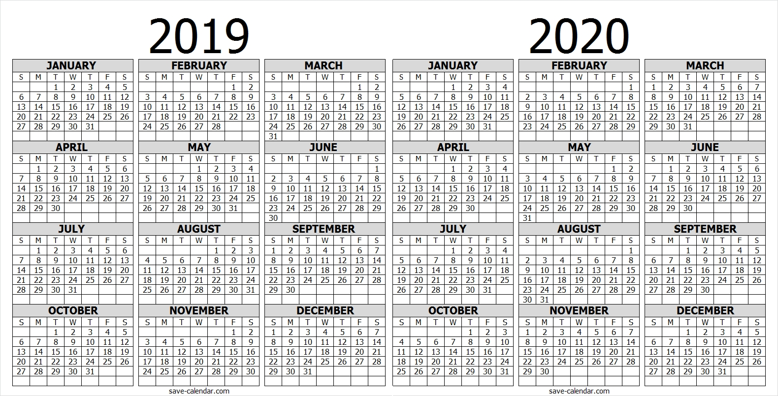 Calendar 2019 2020 One Page | 2019 Calendar | Free Calendar for 2020 Calendar Printable One Page