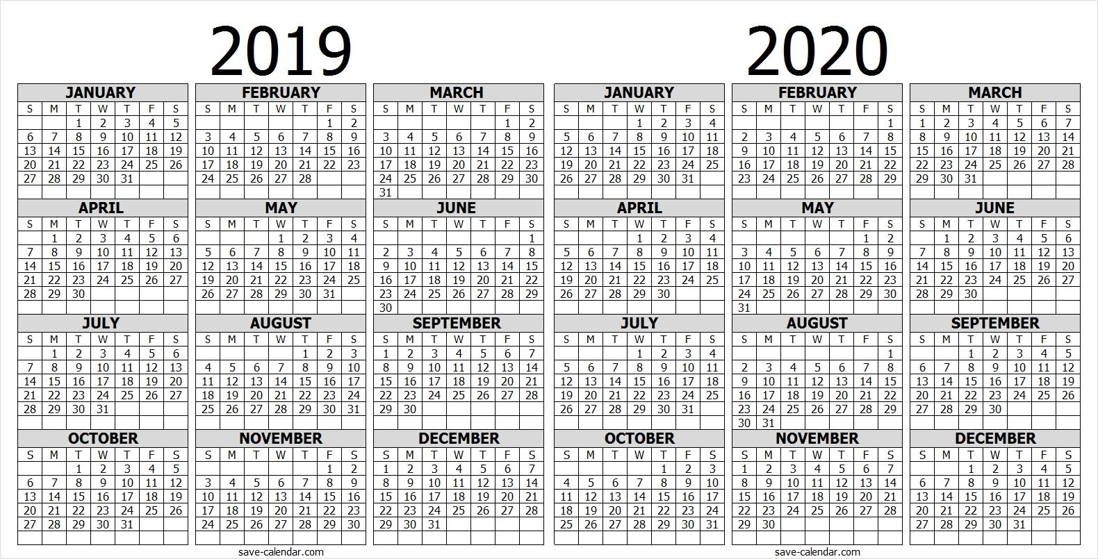 Calendar 2019 2020 One Page | 2019 Calendar | Free Calendar with Calander Single Page Printable 2019 2020