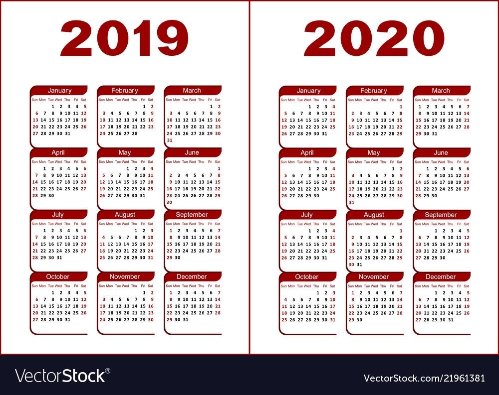 Calendar 2019 2020 Royalty Free Vector Image - Vectorstock with 2019-2020 Fill In Calendar