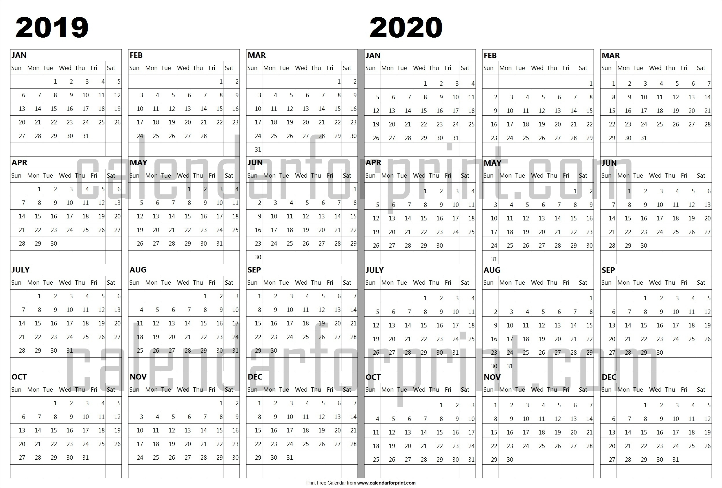 Calendar 2019 2020 Template | 2019 And 2020 Photo With Lines intended for Printable Customizable Calander 2019-2020