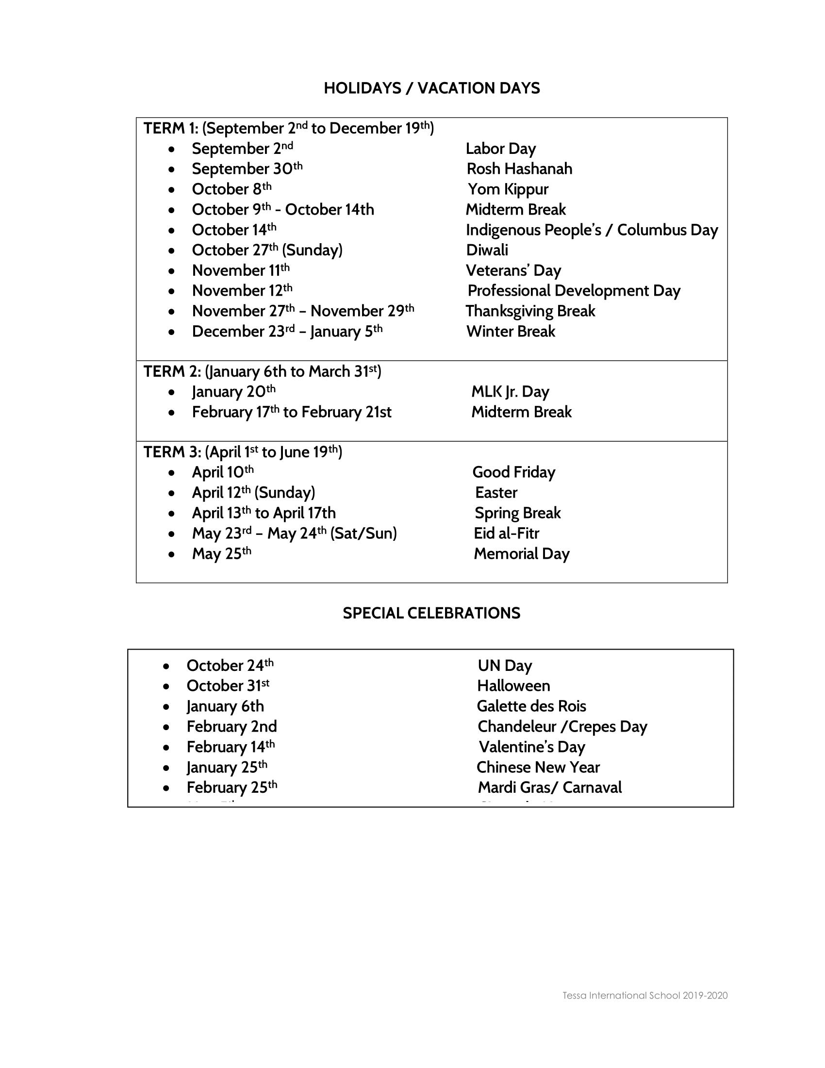 Calendar 2019-2020 - Tessa International School within 2020 Special Days