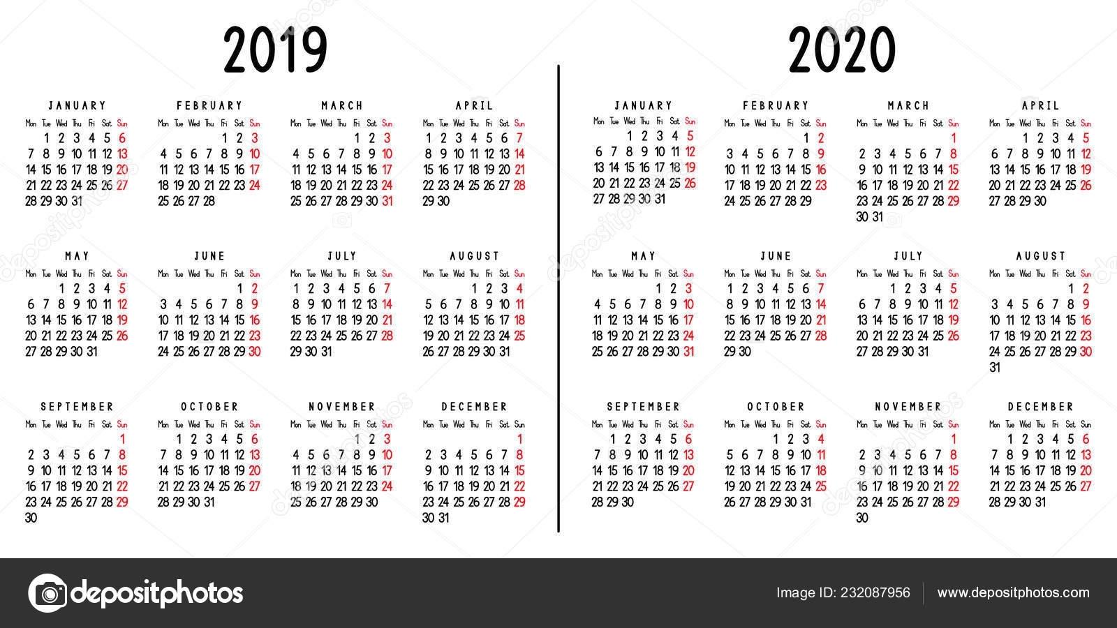 Calendar 2019 2020 Week Starts Monday Vector Illustration — Stock for 2019-2020 Calendar Starting On Mondays