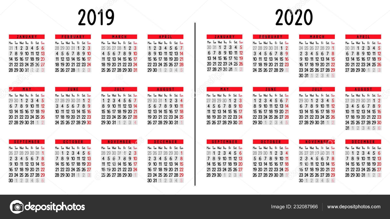 Calendar 2019 2020 Week Starts Monday Vector Illustration — Stock within Week Count Calendar 2019-2020