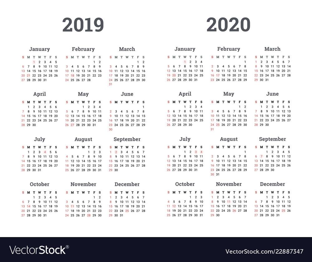 Calendar 2019 2020 Year Royalty Free Vector Image inside Google Printable 2019-2020 Calendar