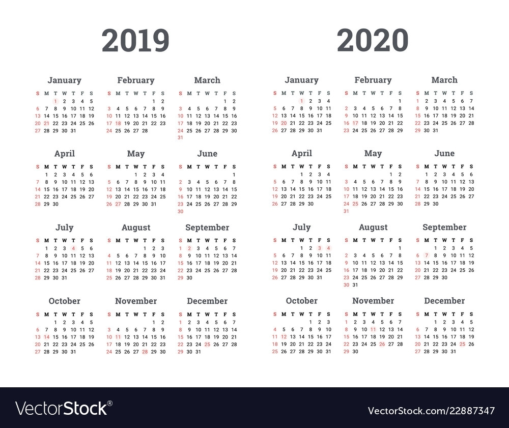Calendar 2019 2020 Year Royalty Free Vector Image with Calendar 2019 2020 With Boxes