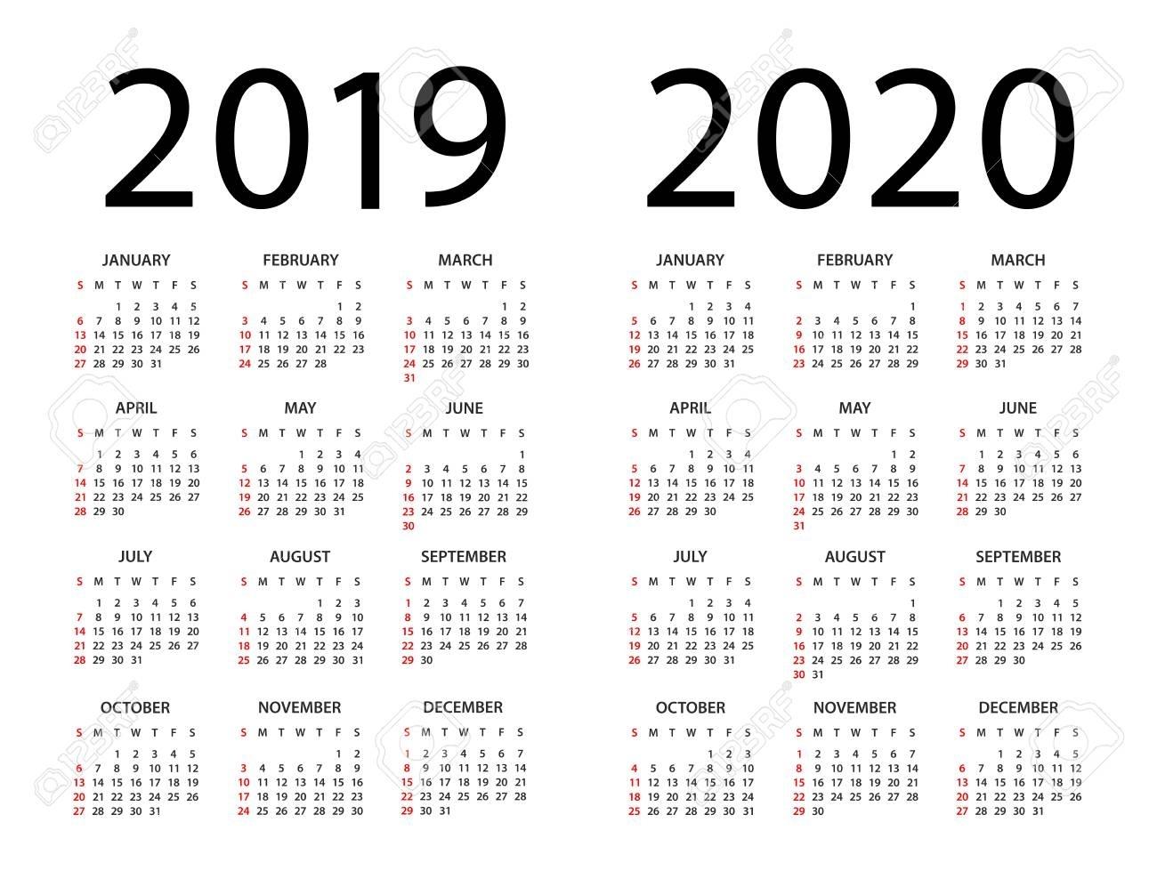 Calendar 2019 2020 Year - Vector Illustration. Week Starts On with regard to Week Count Calendar 2019-2020
