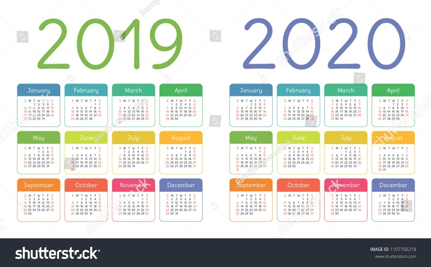 Calendar 2019, 2020 Years. Colorful Calender Set. Week Starts On with Gant Chart Calendar Year In Weeks For 2020