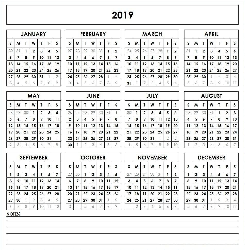 Calendar 2019 Free Printable | Calendar 2019 | Printable Calendar with 5X 7 Printable 2019-2020