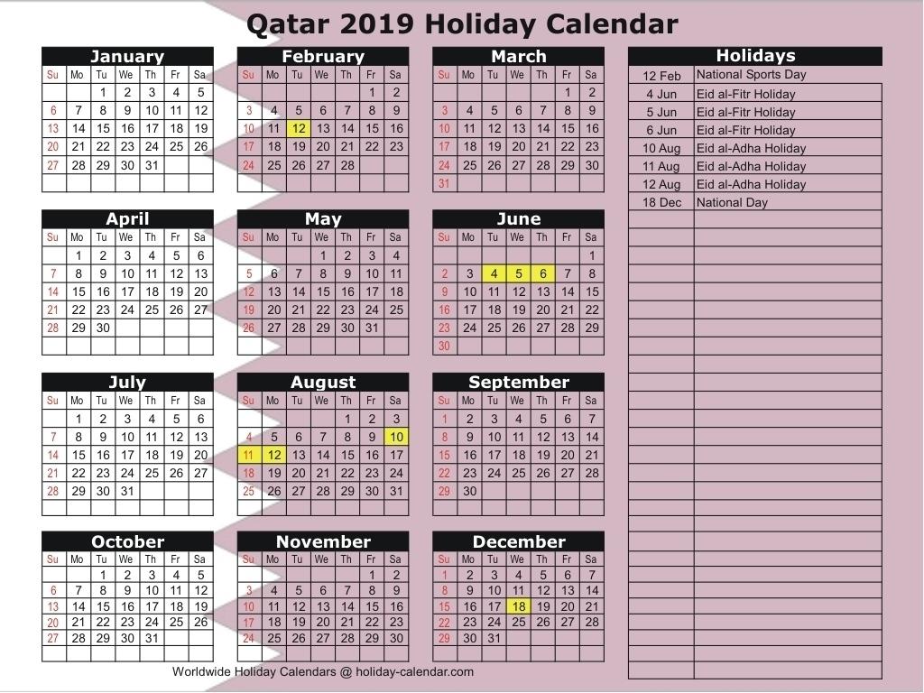 Calendar 2019 Holidays Qatar • Printable Blank Calendar Template inside School Year Calendar 2019-2020   Michael E. Debakey High