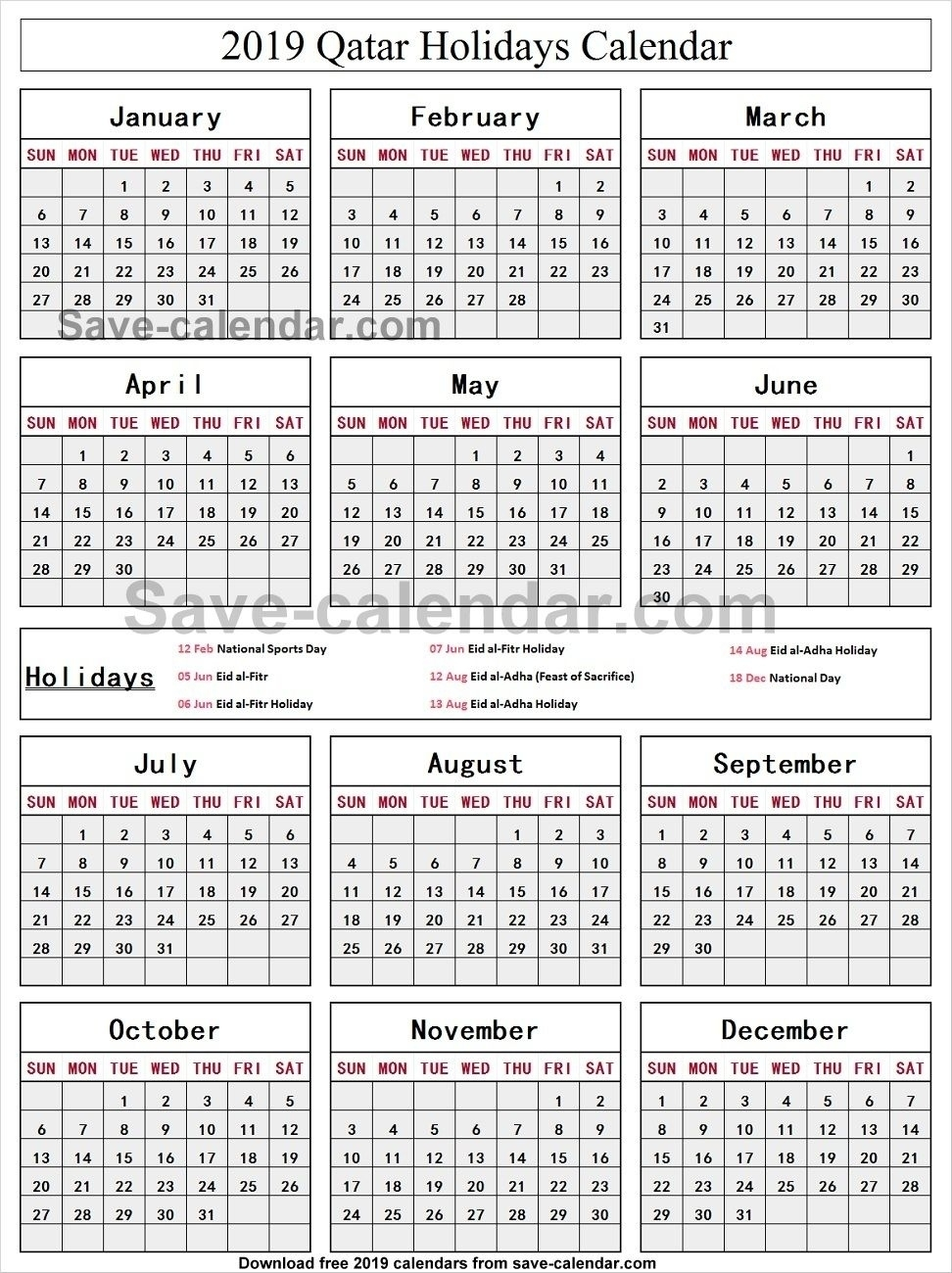 Calendar 2019 Holidays Qatar • Printable Blank Calendar Template within School Year Calendar 2019-2020   Michael E. Debakey High