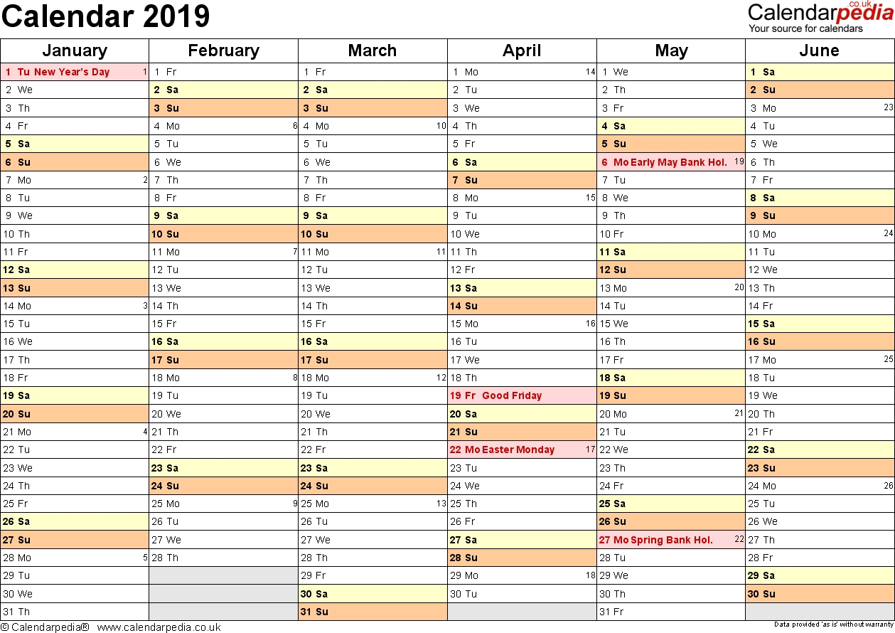 Calendar 2019 (Uk) - 16 Free Printable Word Templates with Printable Year Calendar 2019 - 2020 With Space To Write