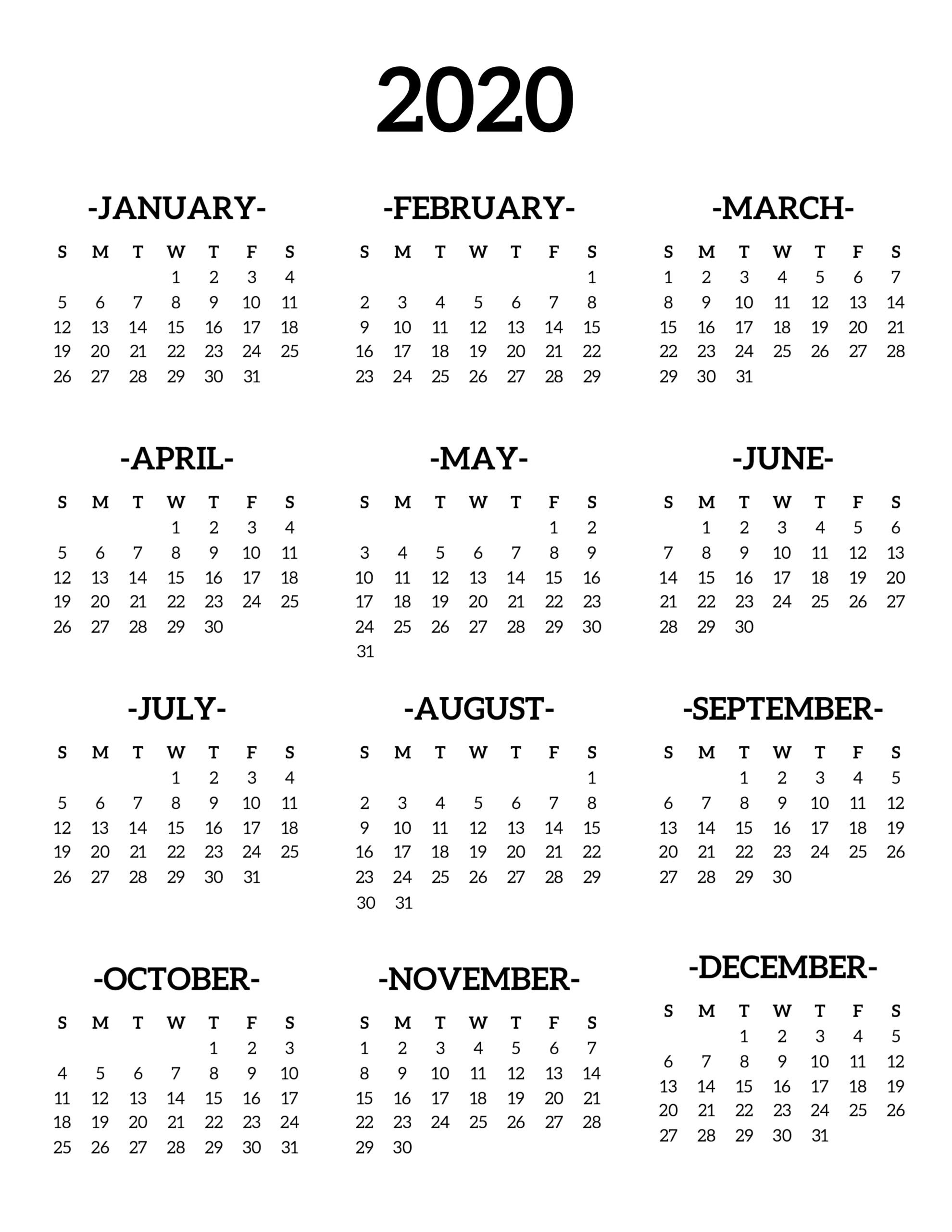Calendar 2020 Printable One Page - Paper Trail Design in 2020 Calendar Printable One Page