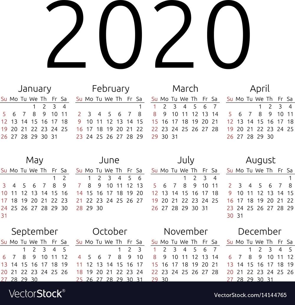 Calendar 2020 Sunday Royalty Free Vector Image regarding 2020 Calendar Monday To Sunday