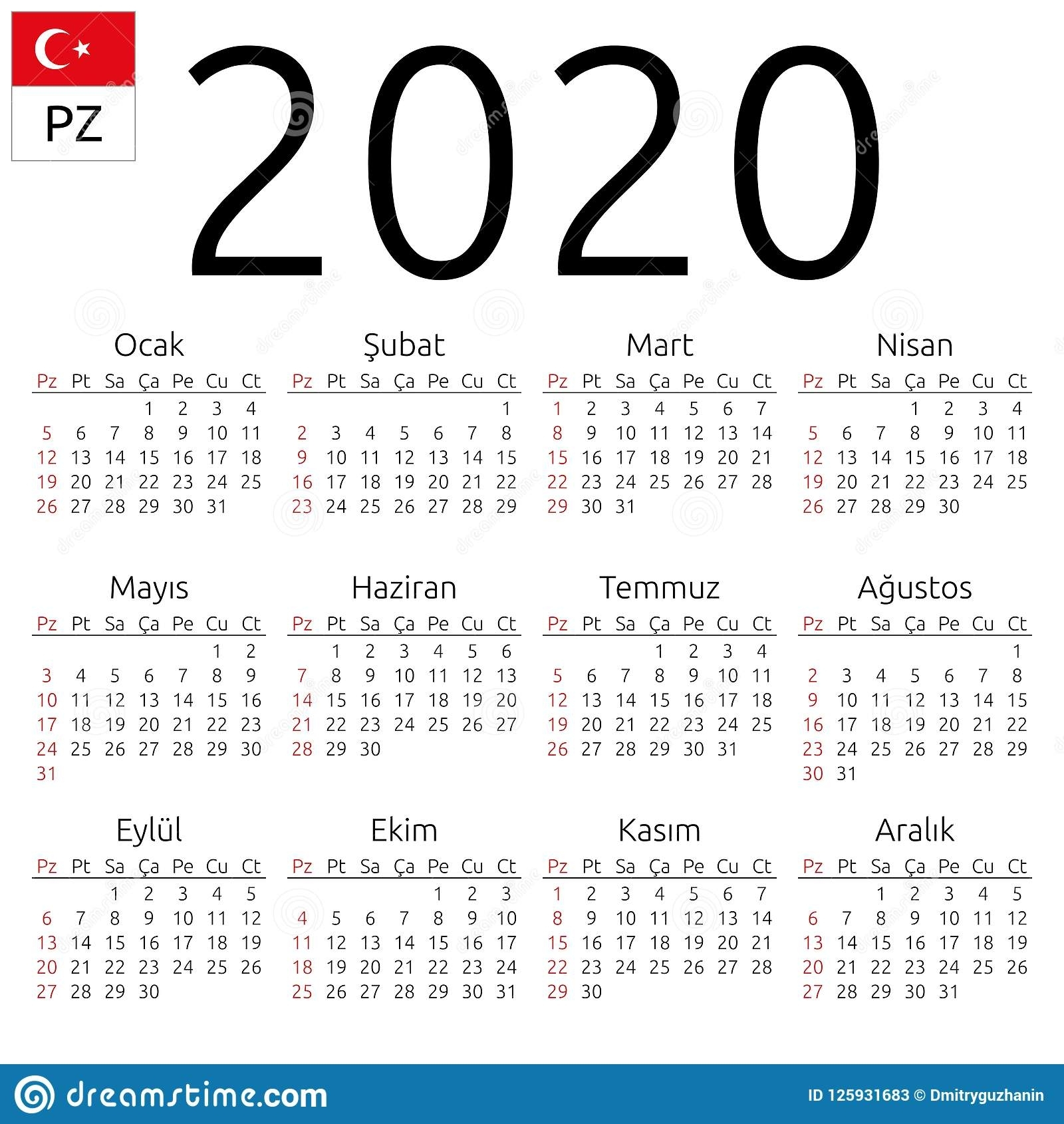 Calendar 2020, Turkish, Sunday Stock Vector - Illustration Of 2020 in 2020 Calendar Monday To Sunday