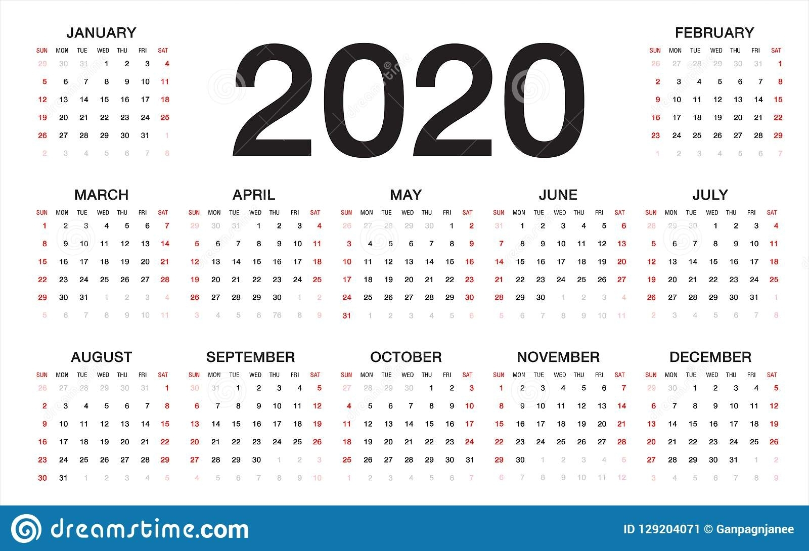 Calendar 2020, Week Starts From Sunday, Business Template Stock intended for Calender 2020 Template Monday To Sunday