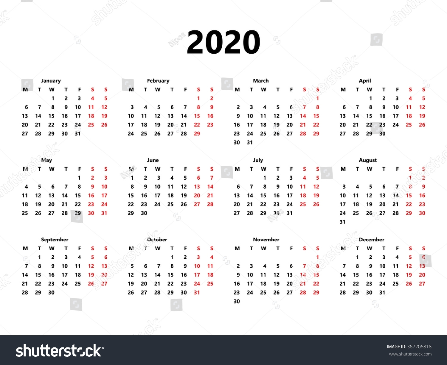 Calendar 2020 Year Simple Style Week Stock Vector (Royalty Free inside 2020 Calendar Starting With Monday