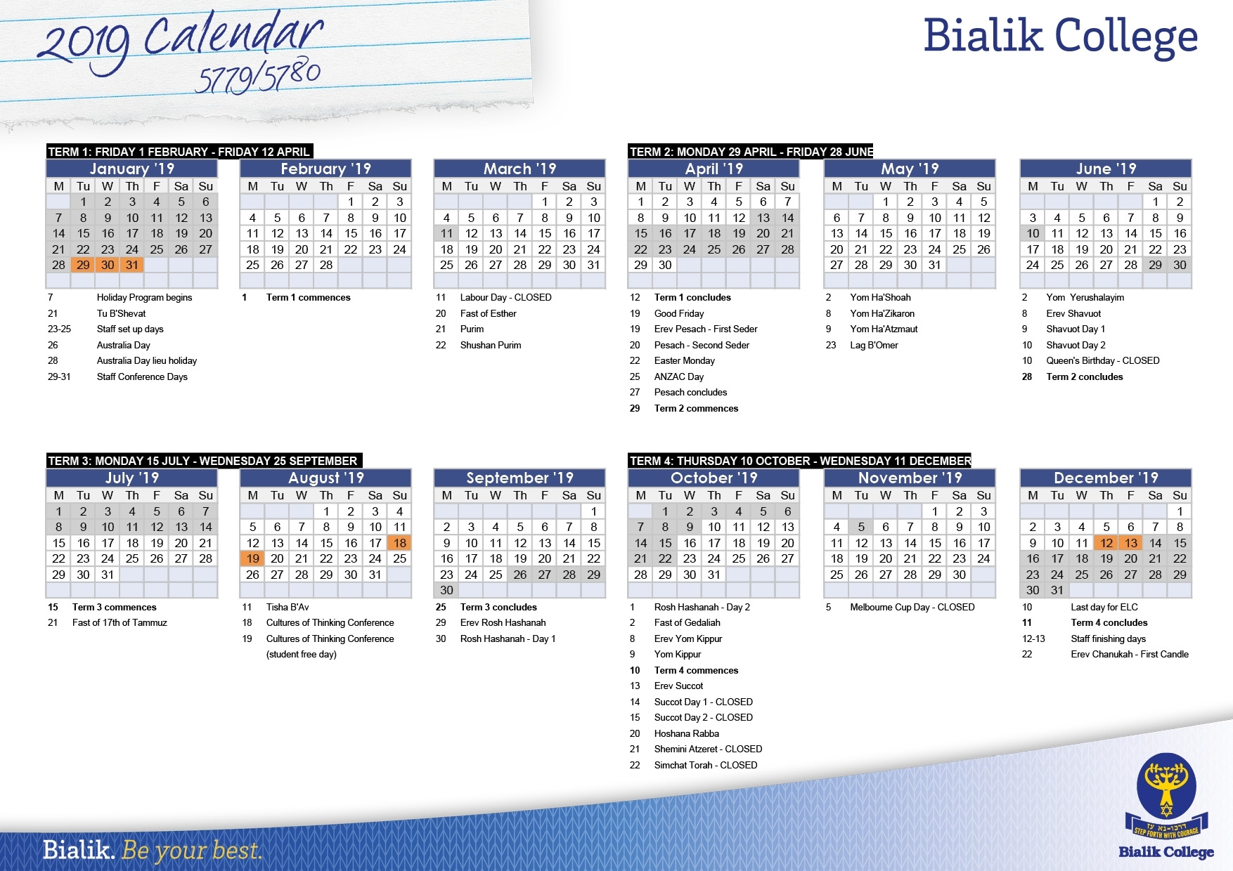 Calendar - Bialik regarding Free Hebraic Calendar 2019 2020
