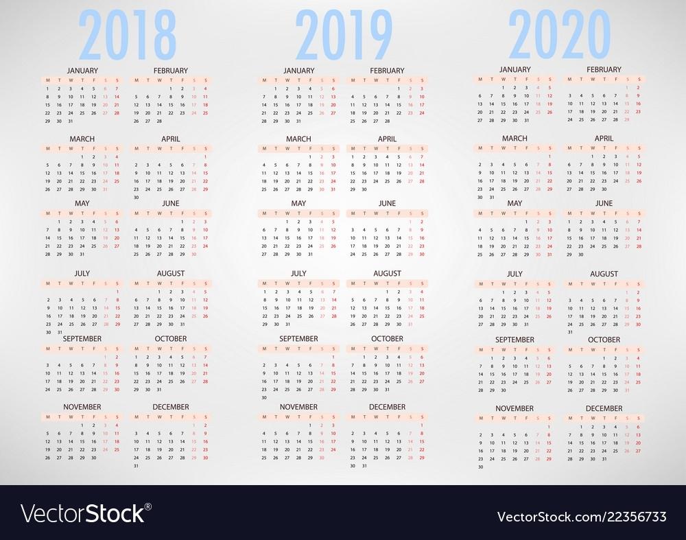 Calendar For 2018 2019 2020 Simple Template Vector Image inside Edit Free Calendar Template 2019-2020