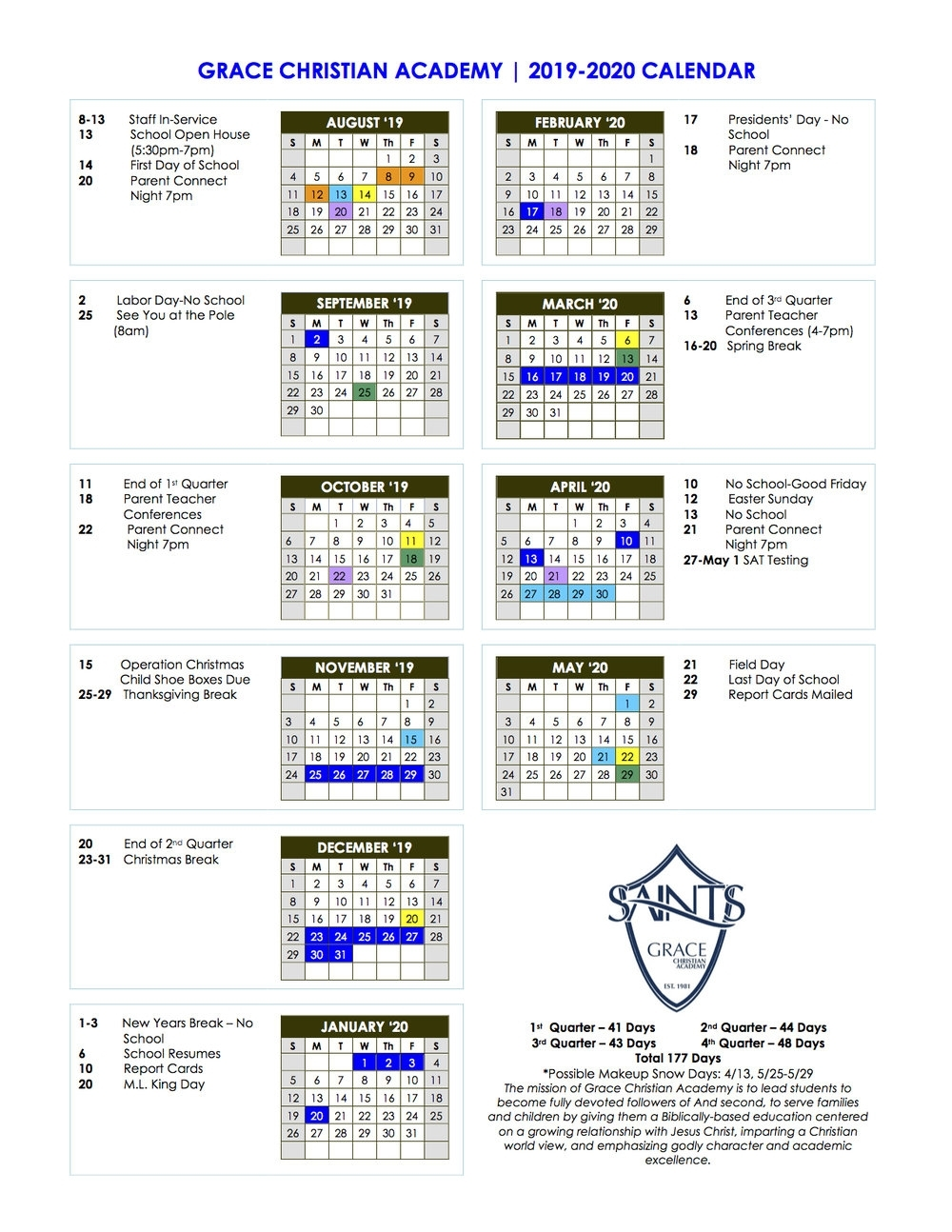 Calendar For 2019-2020 — Grace Christian Academy throughout 2019 2020 Box Calender