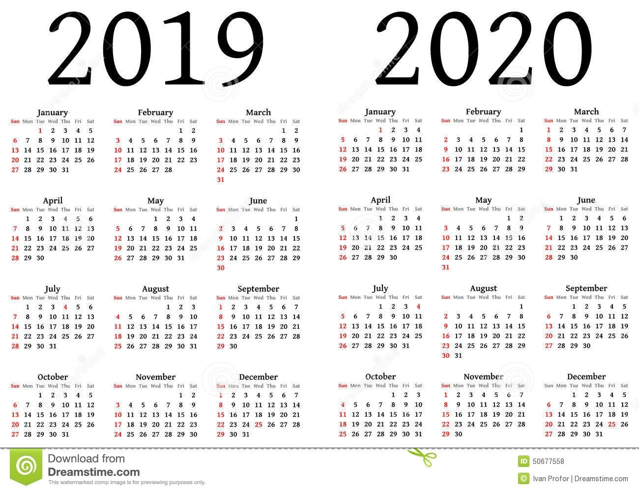 Calendar For 2019 And 2020 Stock Vector. Illustration Of Designers pertaining to Free Printable Calendar 2019-2020