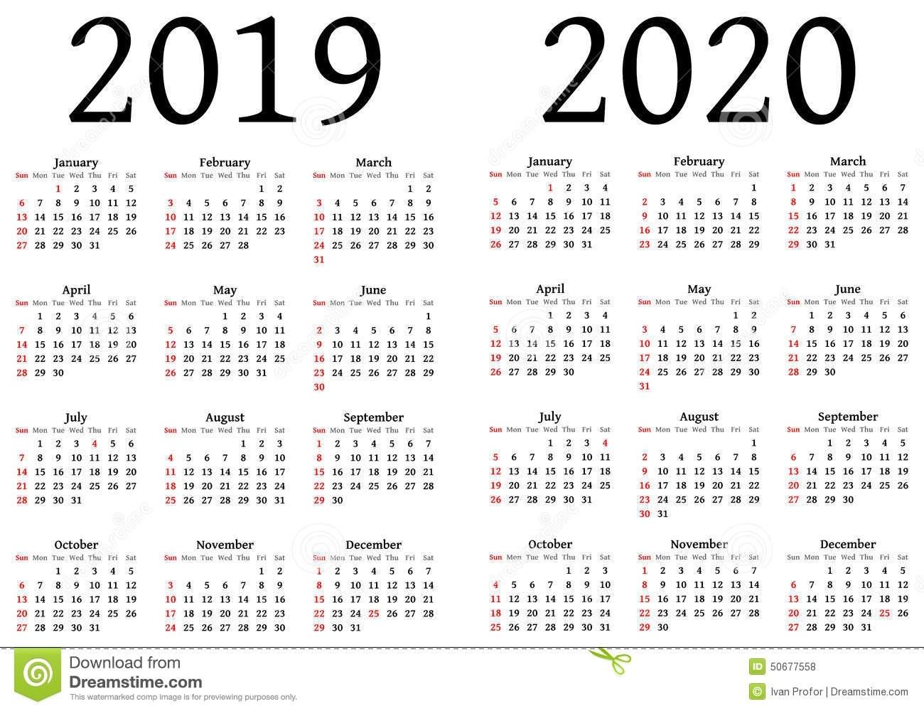 Calendar For 2019 And 2020 Stock Vector. Illustration Of Designers regarding Free Printable 2019 2020 Calendar