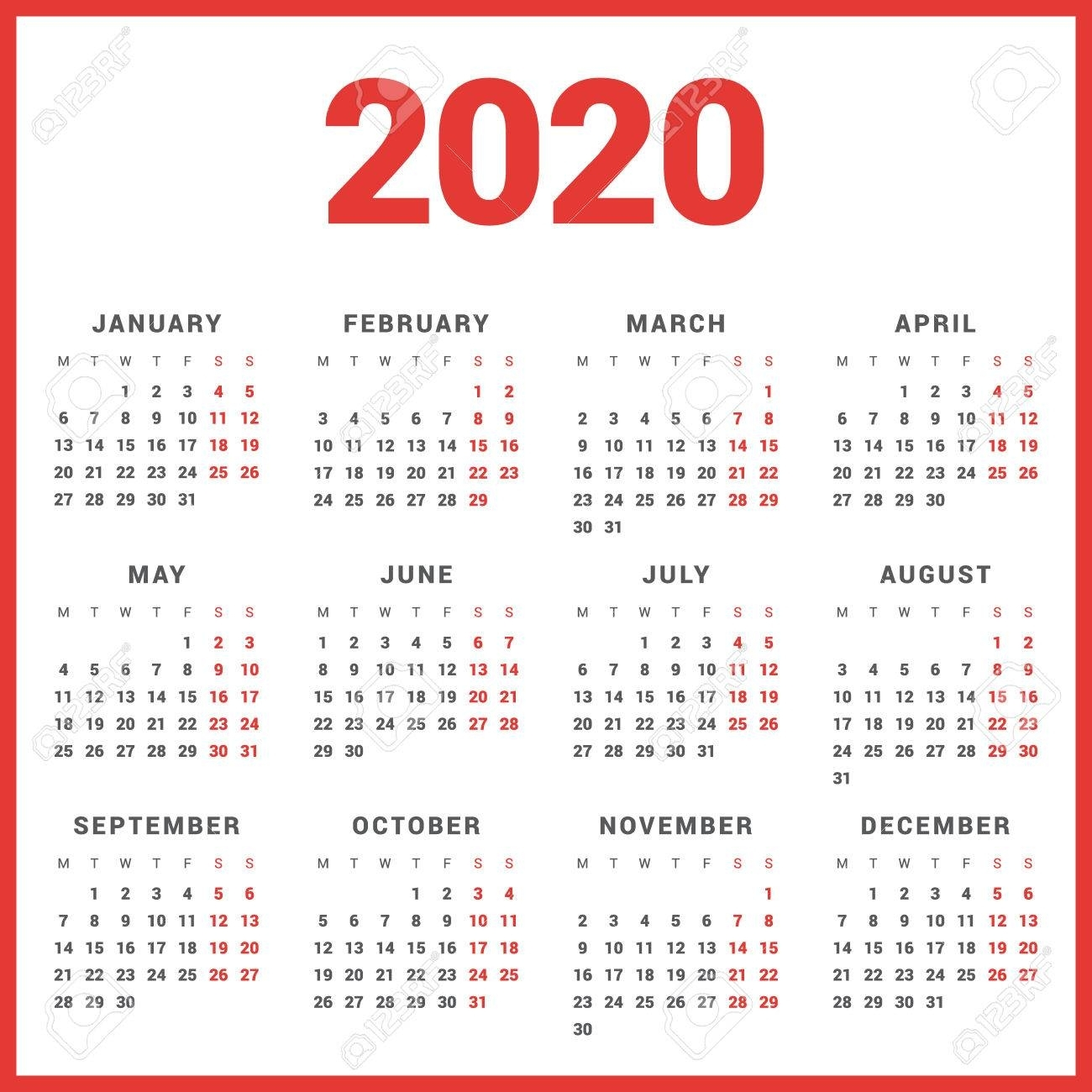 Calendar For 2020 Year On White Background. Week Starts Monday in 2020 Calendar Starting With Monday