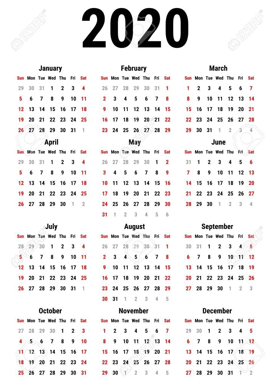 Calendar For 2020 Year On White Background. Week Starts Sunday pertaining to 2020 Calendar Monday To Sunday