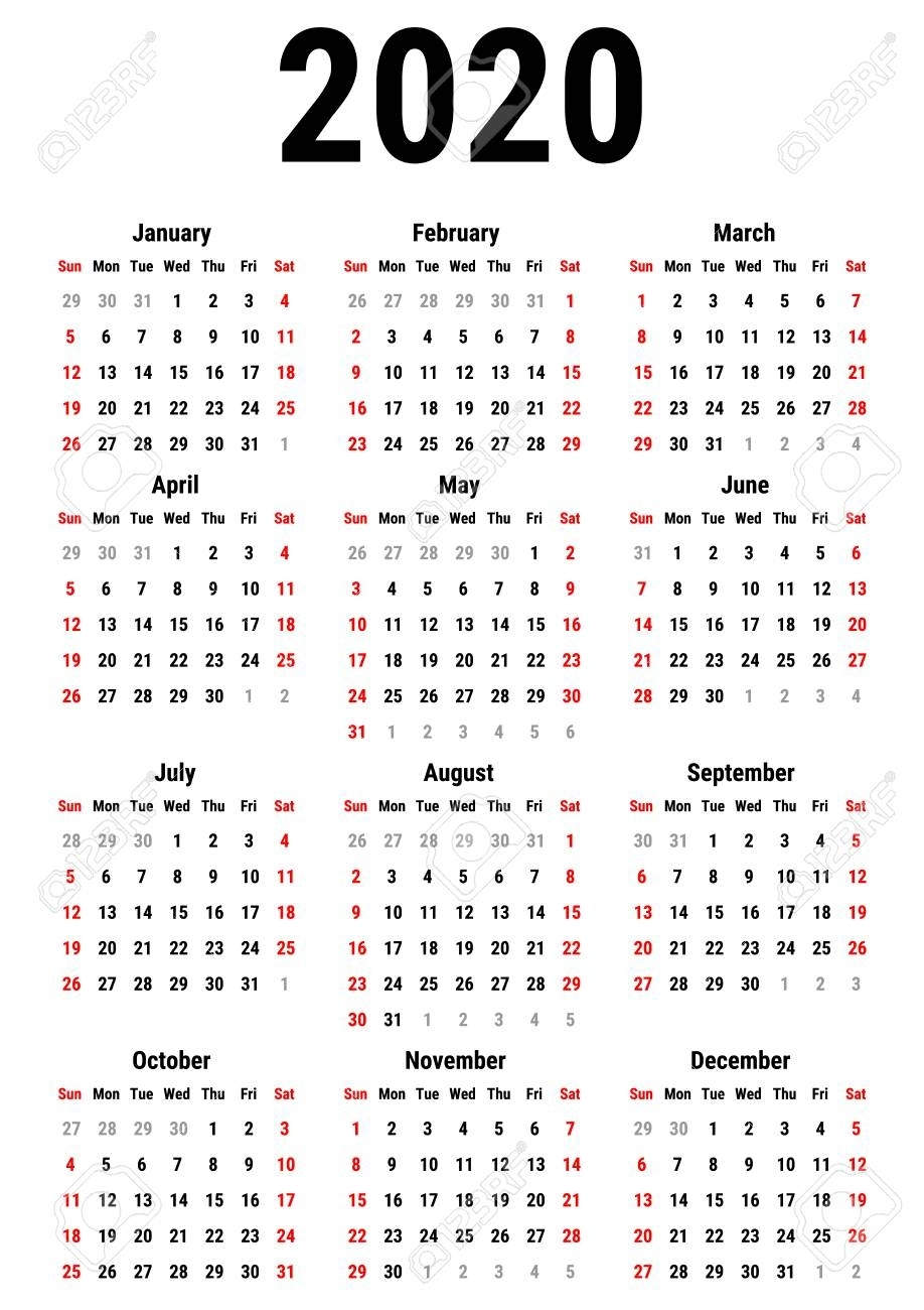Calendar For 2020 Year On White Background. Week Starts Sunday with 10 Years Calendar From 2020