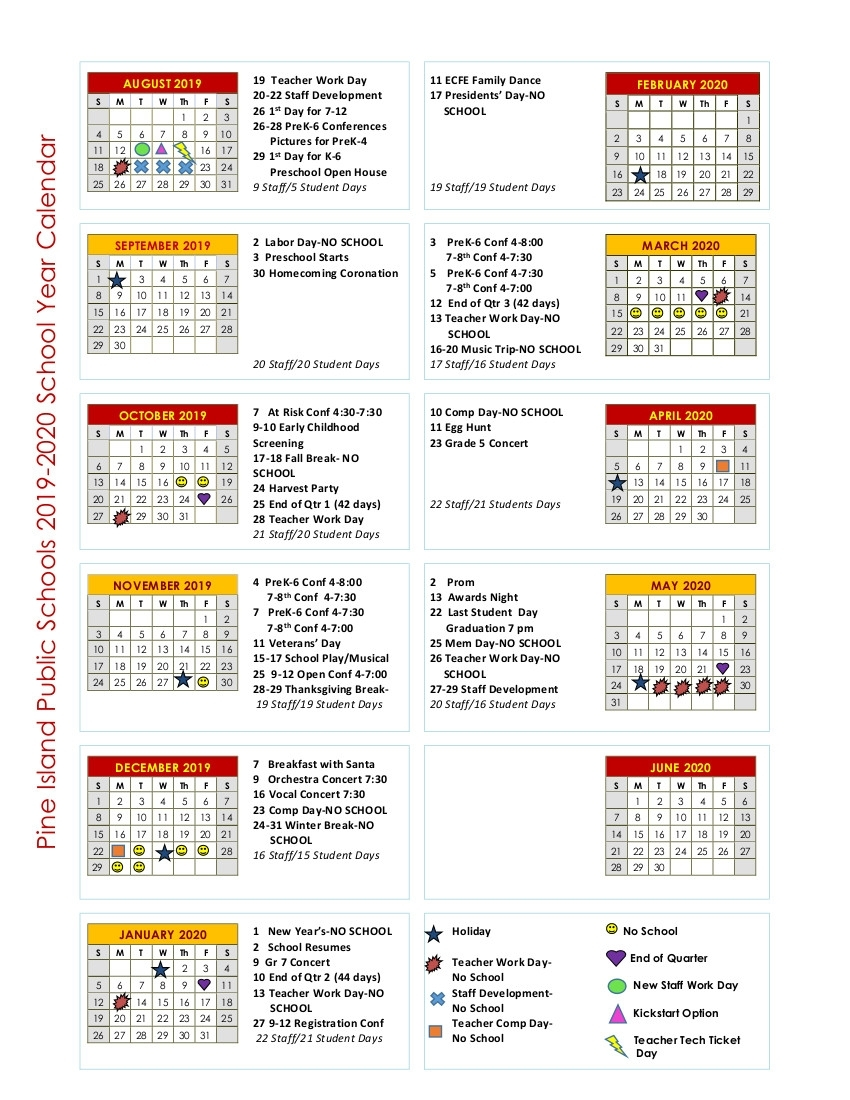 Calendar - Isd 255 - Pine Island inside Pshe Special Days Calender 2020