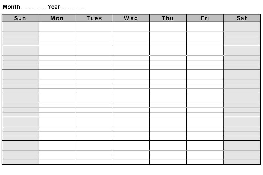 Calendar Month With Notes • Printable Blank Calendar Template throughout Printable Blank Monthly Calendar With Lines