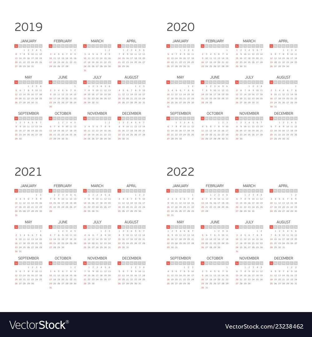 Calendar On 2019 2020 2021 2022 Royalty Free Vector Image with Free Printable 2019-2020  Calendar With Editing