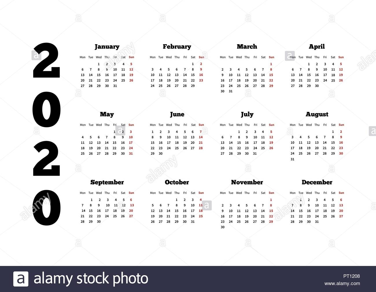 Calendar On 2020 Year With Week Starting From Monday, A4 Sheet Stock intended for 2020 Calendar Starting With Monday