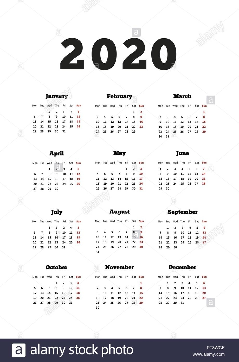 Calendar On 2020 Year With Week Starting From Monday, A4 Size with 2020 Calendar Starting With Monday