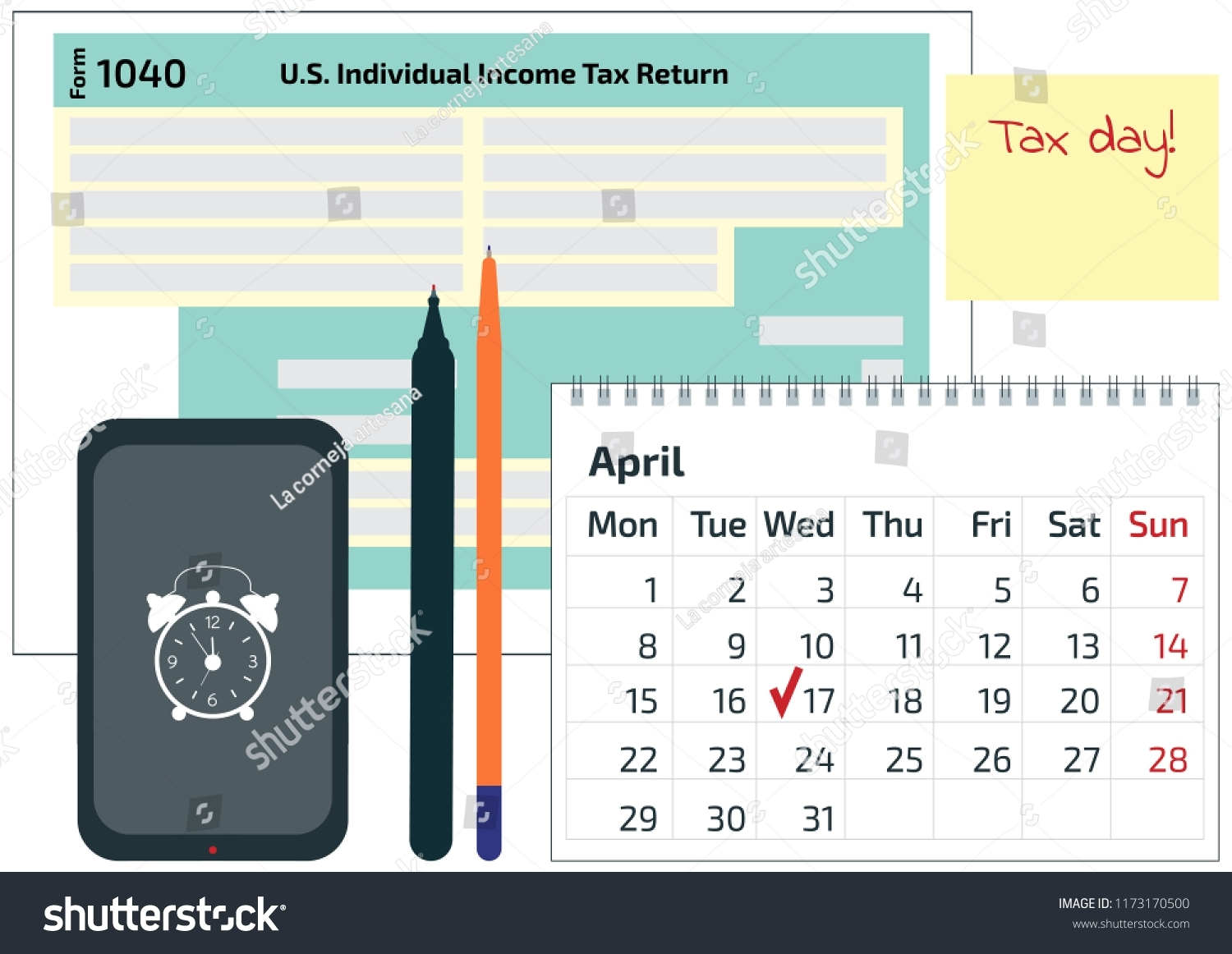 Calendar Pen 1040 Income Tax Form Stock Vector (Royalty Free pertaining to 2019-2020Tax Calendar Month And Week