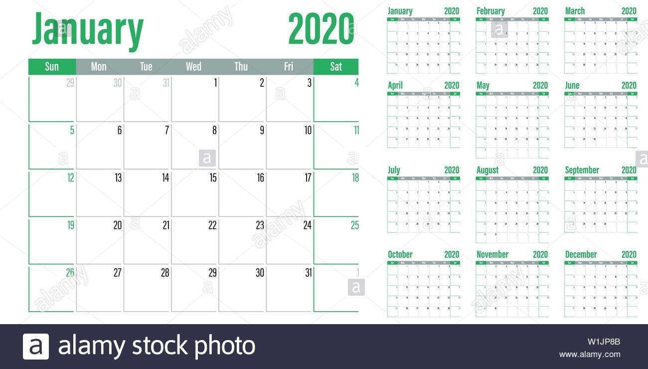 Calendar Planner 2020 Template Vector Illustration All 12 Months for 2020 Calendar Sunday To Saturday