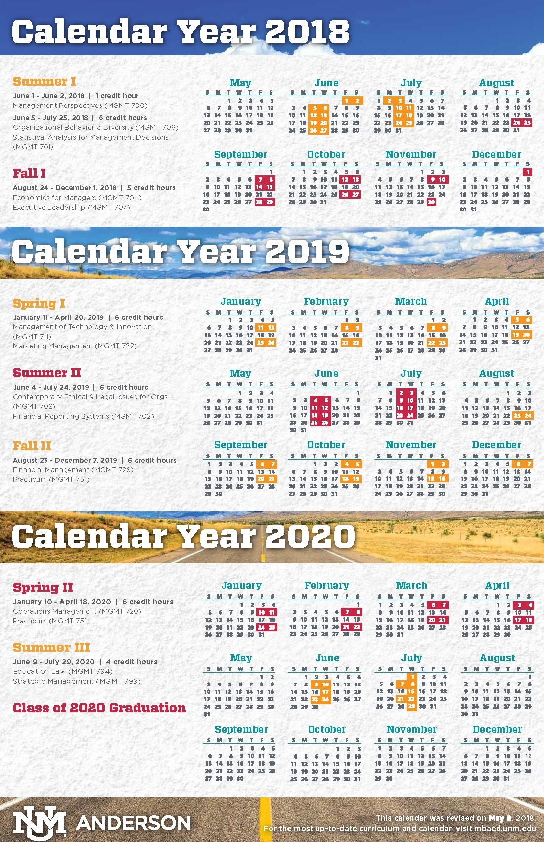 Calendar, Schedule, And Course Descriptions :: Anderson Mba In in 2019 2020 Calendar Unm