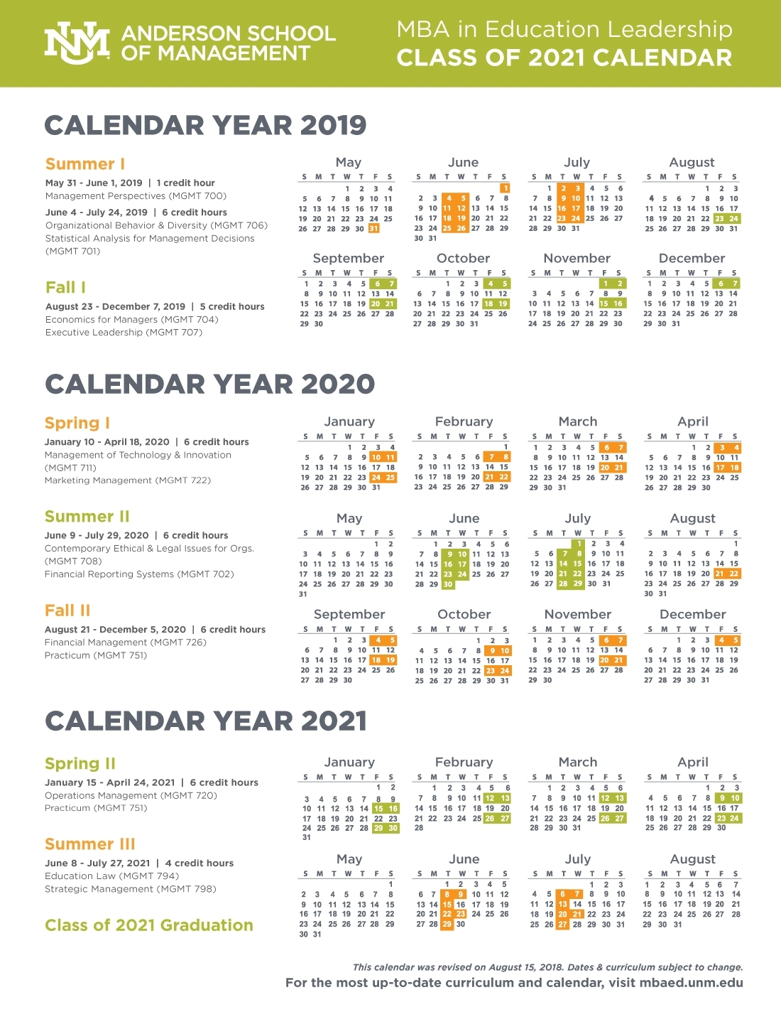Calendar, Schedule, And Course Descriptions :: Anderson Mba In throughout 2019 2020 Calendar Unm