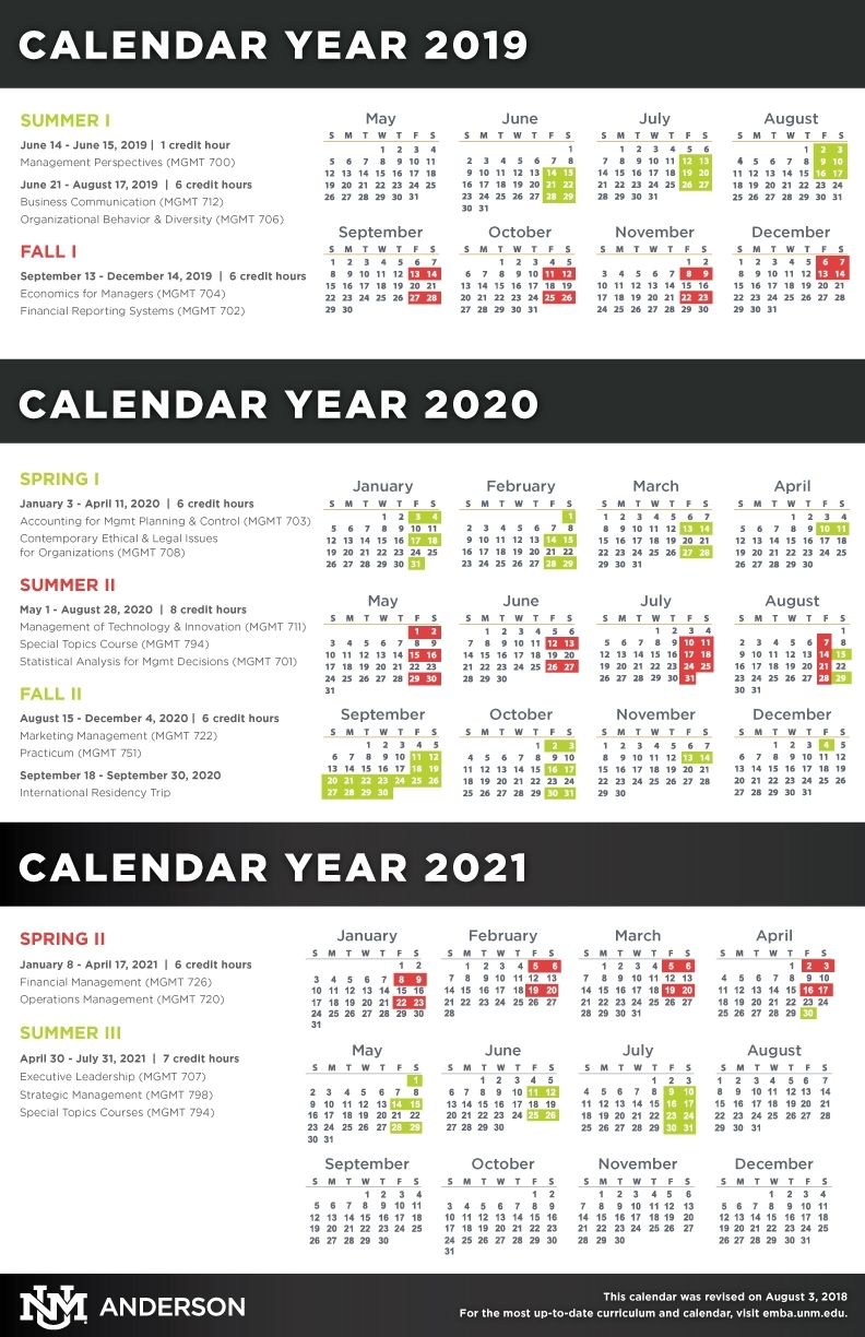 Calendar, Schedule, & Course Descriptions :: Anderson Executive Mba with regard to 2019 2020 Calendar Unm