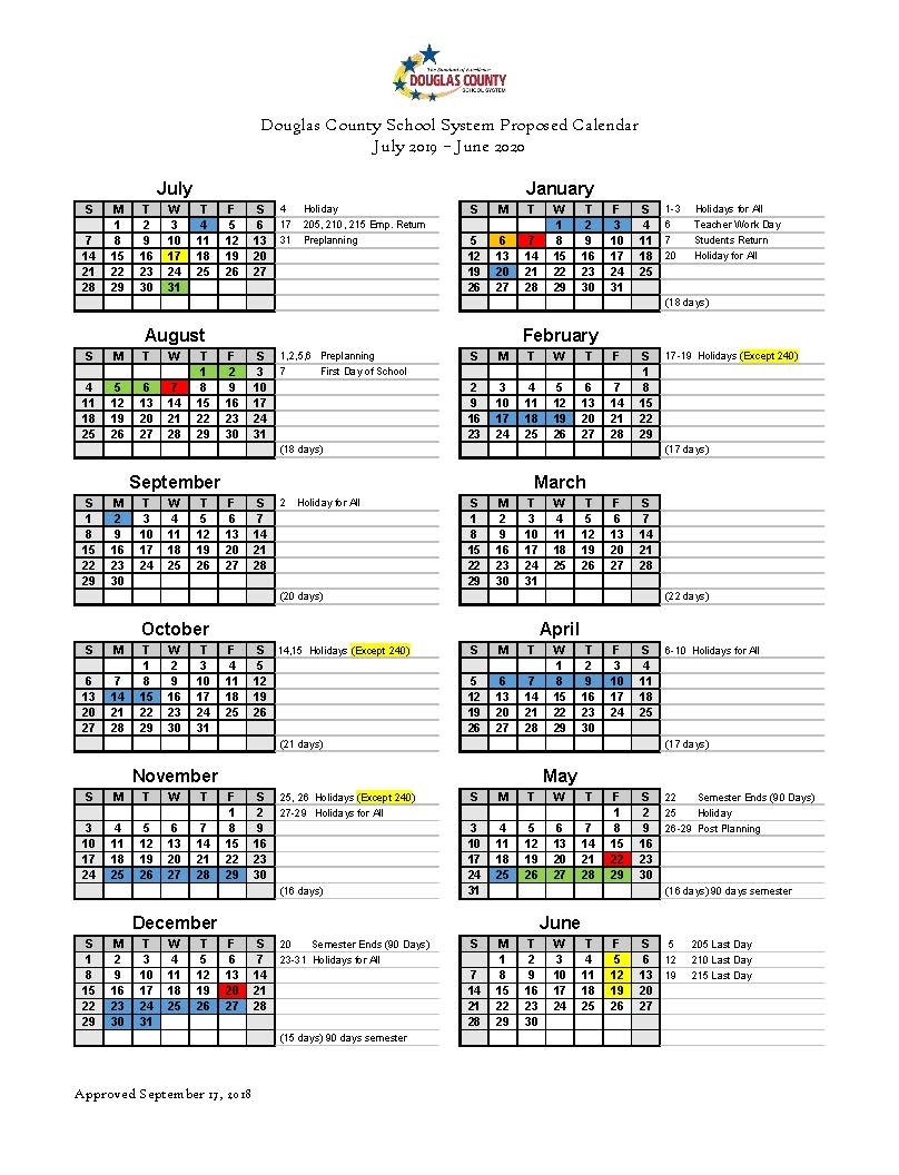 Calendar Set For 2019-2020 - Douglas County School System with Calendar With All The Special Days In 2020