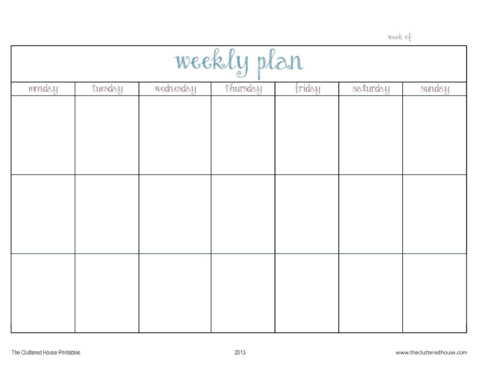 Calendar Template Monday Through Friday • Printable Blank Calendar within Monday Thru Friday Calendar 2020 Template